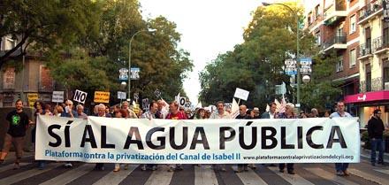 No privatizacion agua Canal Isabel II