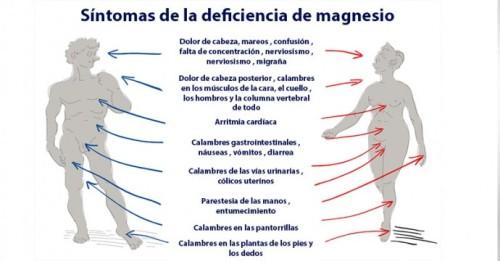 Magnesio - síntomas deficiencia